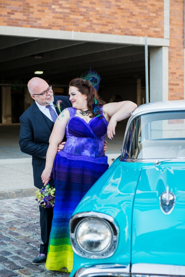 anatomy colorful wedding gown featured on Off Beat Bride