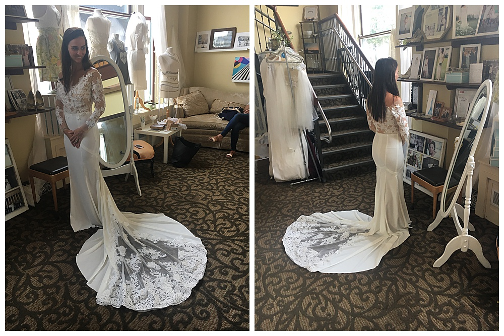 The bride poses in our office to show off the train to her handmade long sleeve lace wedding gown as she looks off to the side (left) then a back view of the veil spread across the floor (right).