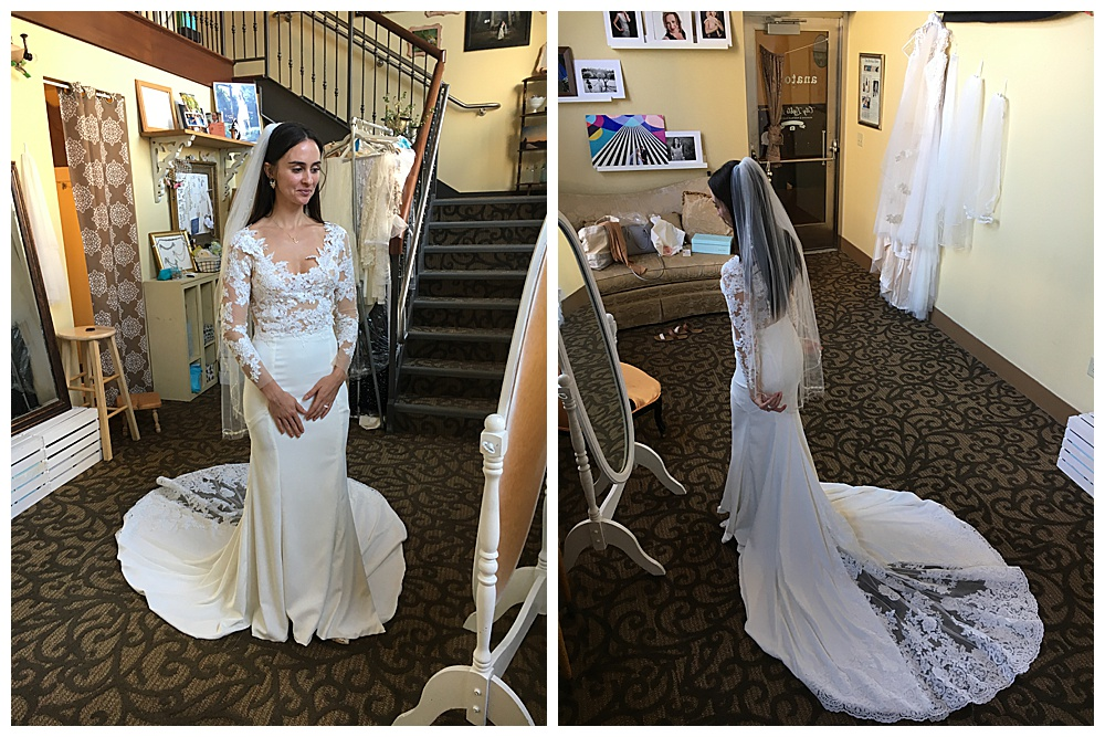 The bride looks away from the camera in her finished handmade long sleeve lace wedding gown (left). We took an elevated photo on steps of the bride facing the mirror in our office to show off the train and veil of the dress.