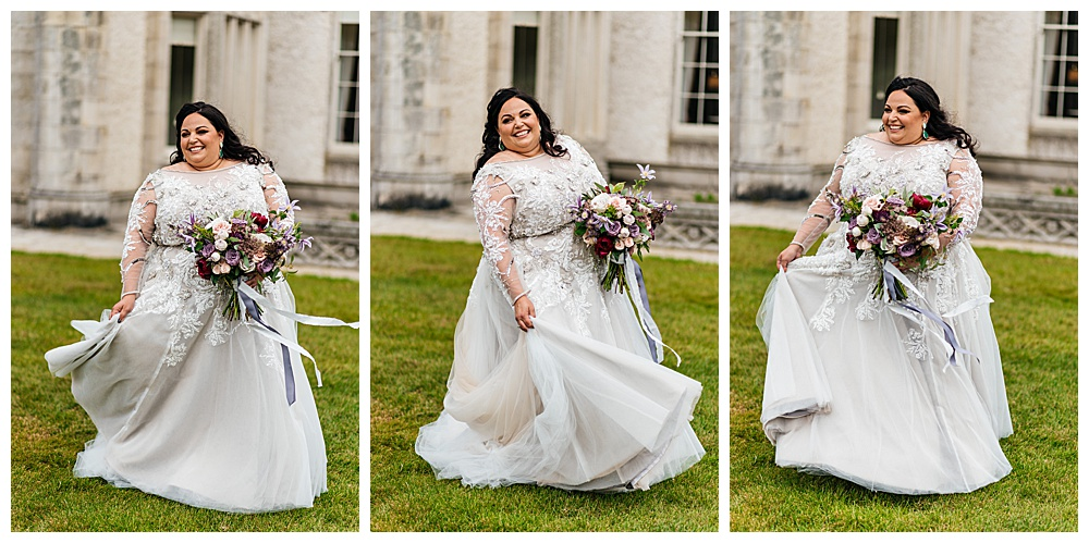The bride twirls in her custom soft purple lace wedding dress outside of the castle where she married her groom.