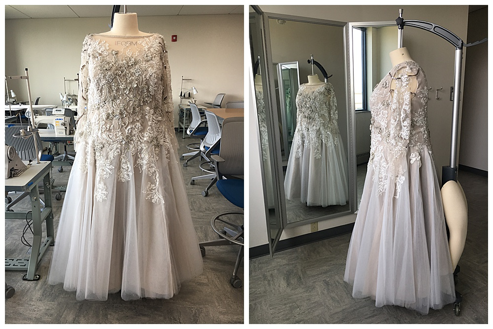 Frontal and side view of the custom soft purple lace wedding dress we created for our bride.