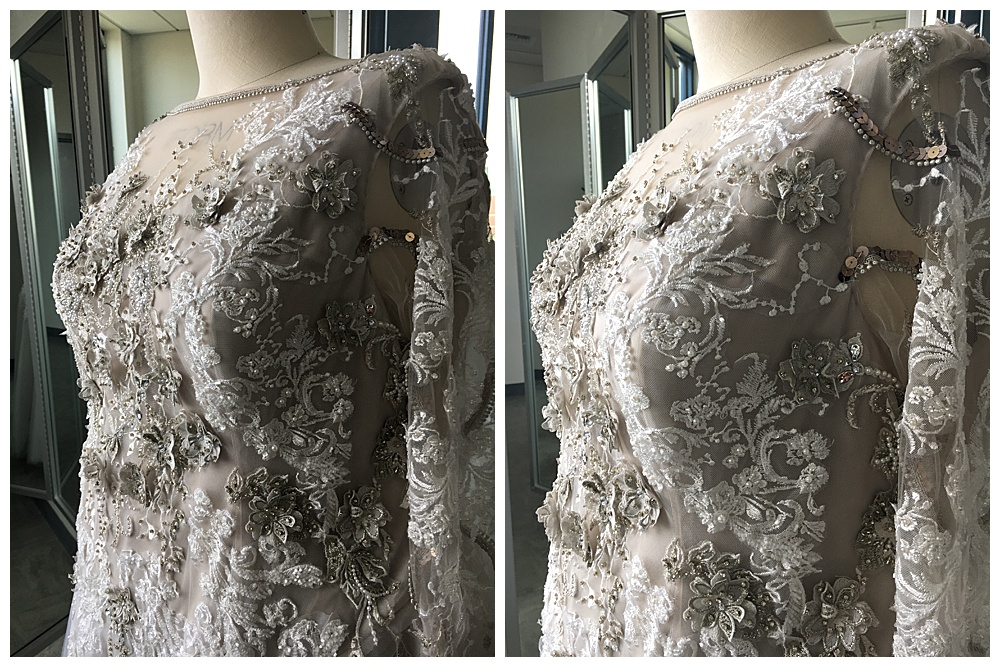 Closeups of the lace appliqué finished, showing the intricate detailing of the bodice and sleeves of the wedding dress.