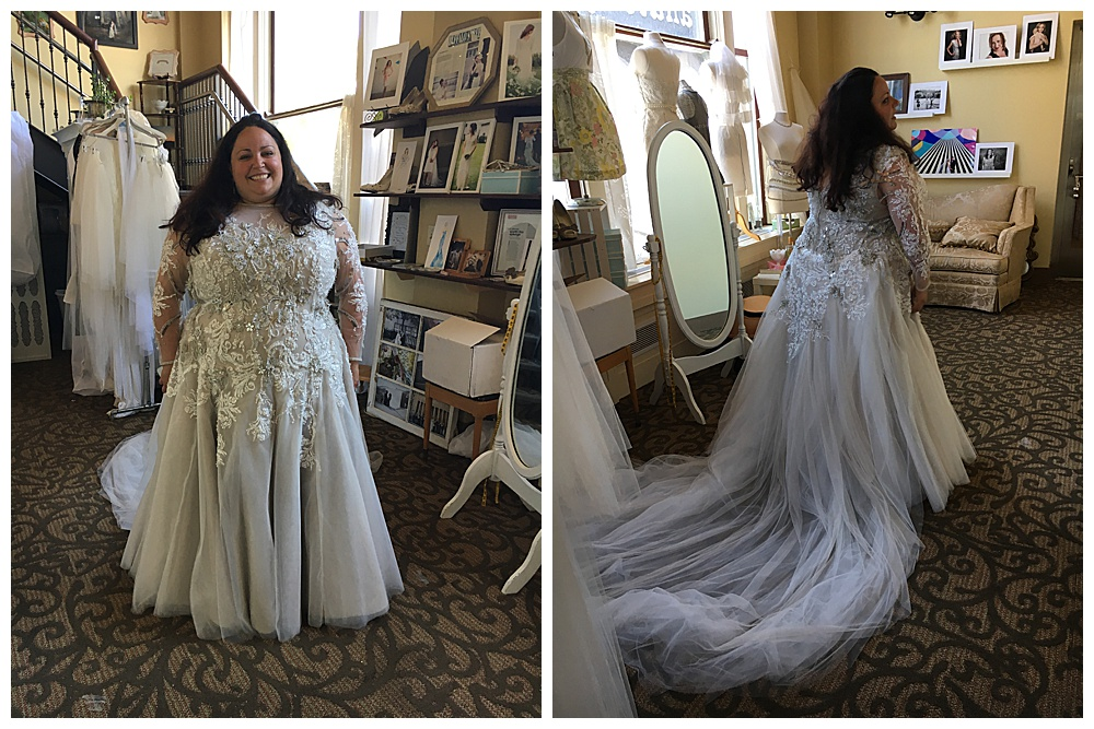 Front and side views of our bride in our showroom wearing the custom soft purple lace custom wedding dress with the detachable train.