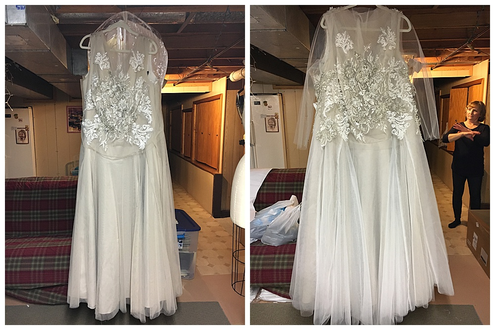 Closeups of the front of the custom soft purple lace wedding dress before it was completed.