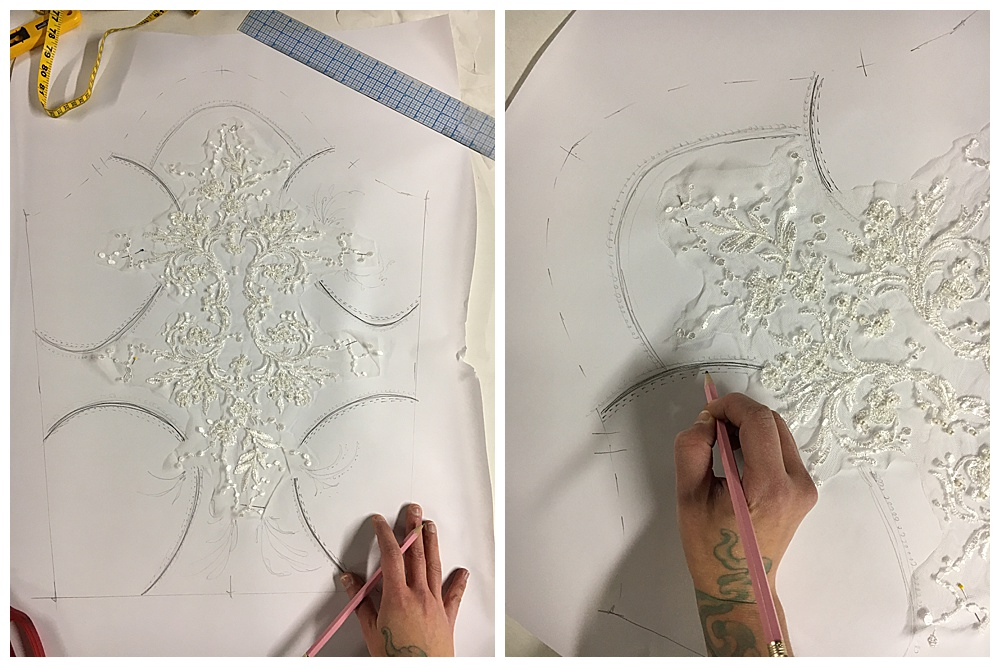 Creating the lace appliqué for the custom wedding dress.