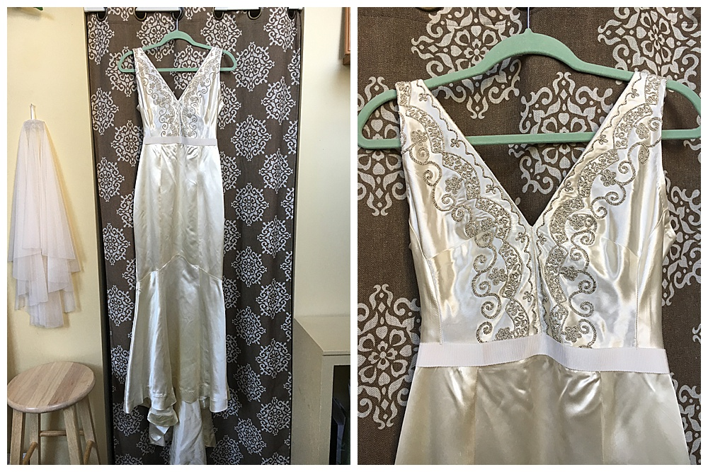 Closeup of the finished heirloom wedding dress reconstruction with veil and closeup of the bodice.