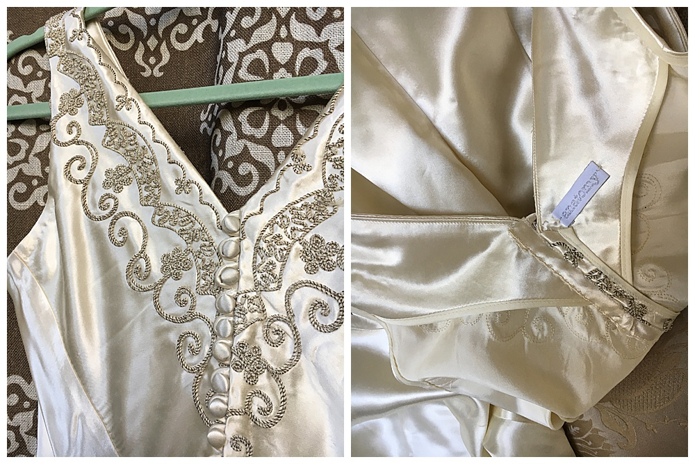 Closeup of the finished wedding dress bodice and signature anatomy tag that all of our creations get.