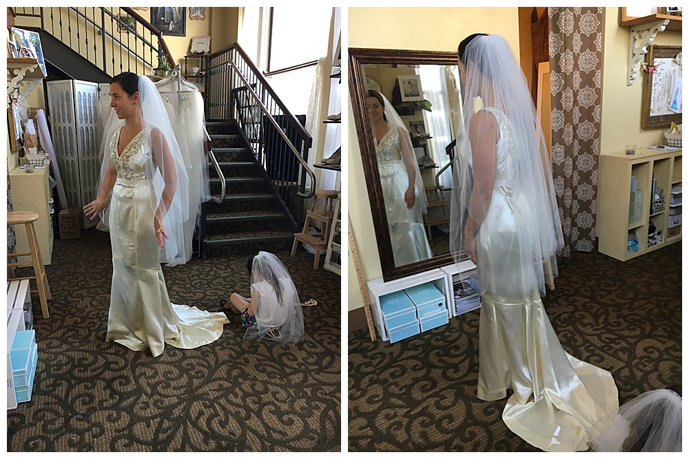 Front and back photos the heirloom wedding dress we made for our Buffalo bride with her veil on.