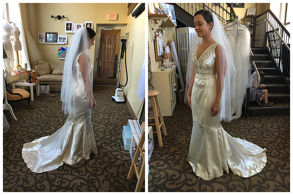 Our Buffalo bride tried on her dress with the veil and it tied the pieces together.
