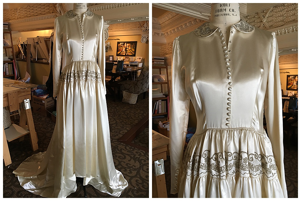 Closeup of our Buffalo bride's grandmother's wedding dress that we used to reimagine our bride's dress.
