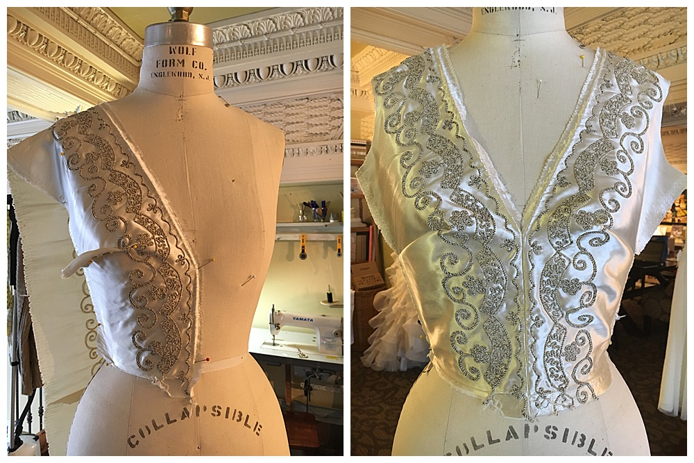 We start the bodice construction by incorporating both vintage wedding dresses for our Buffalo bride.
