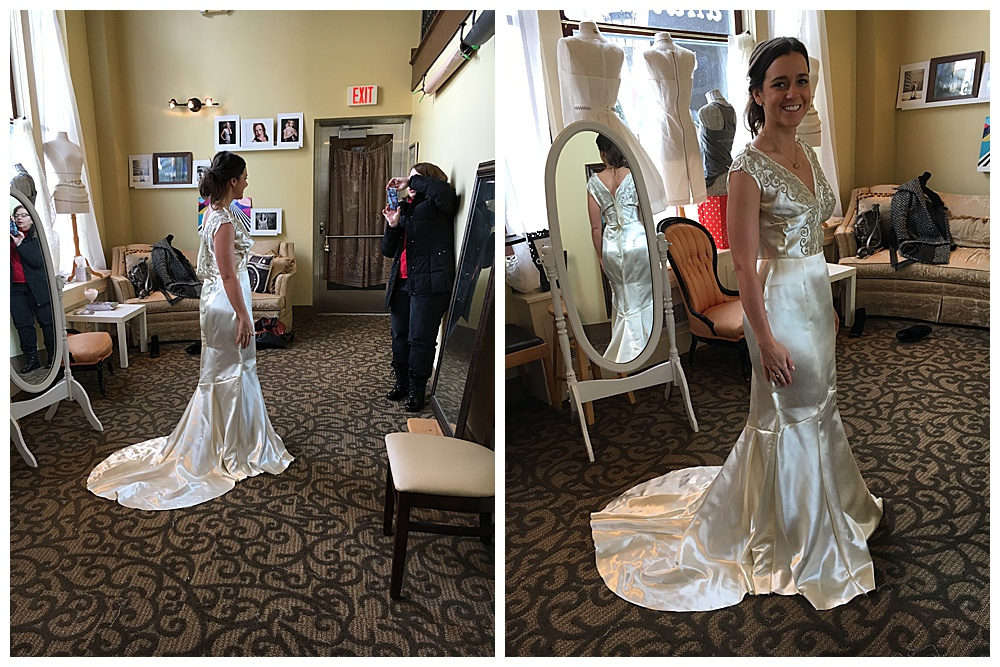 Our bride tries on her heirloom wedding dress during the reconstruction process.